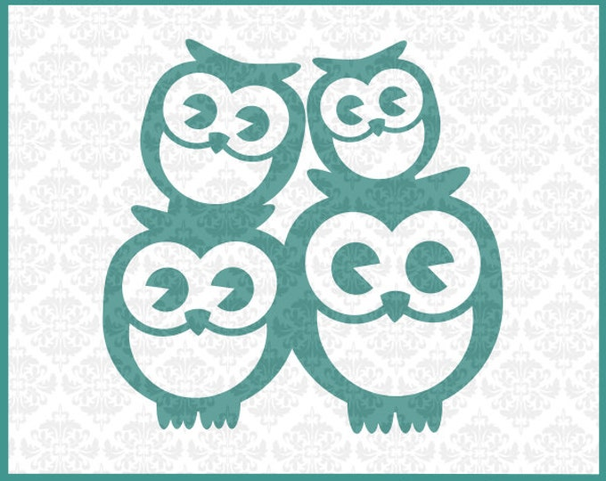 CLN0137 Owl Family 2 Kids Couple Mommy Daddy Baby Mother Father SVG DXF Ai Eps PNG Vector Instant Download Commercial Use Cricut Silhouette