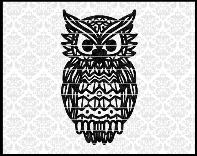 CLN0712 Owl Halloween Drawing Patterned Mandala Zentangle SVG DXF Ai Eps PNG Vector Instant Download Commercial Cut File Cricut SIlhouette