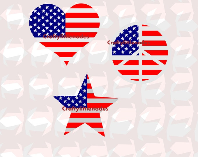 American Flag Shapes SVG STUDIO Ai EPS Scalable Vector Art Instant Download Commercial Use Cutting File Cricut Explore Silhouette Cameo