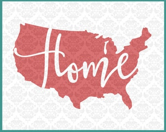 CLN0113 Home America USA United States 4th of July Day SVG DXF Ai Eps Png Vector Instant Download Commercial Cut File Cricut Silhouette