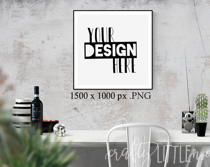 Mockup Mock Up Square Stylized Photography SVG Blank Printable PNG Garden Boho Desk Wall Chair Wine Blanks Commercial Use Photo