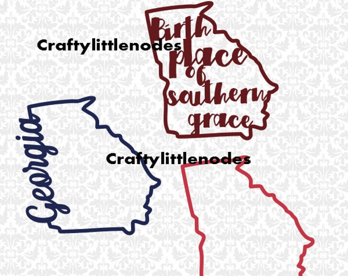 Birthplace Of Southern Grace Georgia Outline SVG STUDIO Ai EPS Scalable Vector Instant Download Commercial Use Cutting File Silhouette