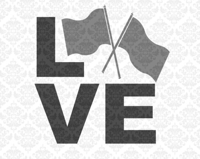 Love Flags Monogram Colorguard Color Guard Marching Band SVG DXF file Eps Png Vector Instant Download Commercial Cricut Silhouette