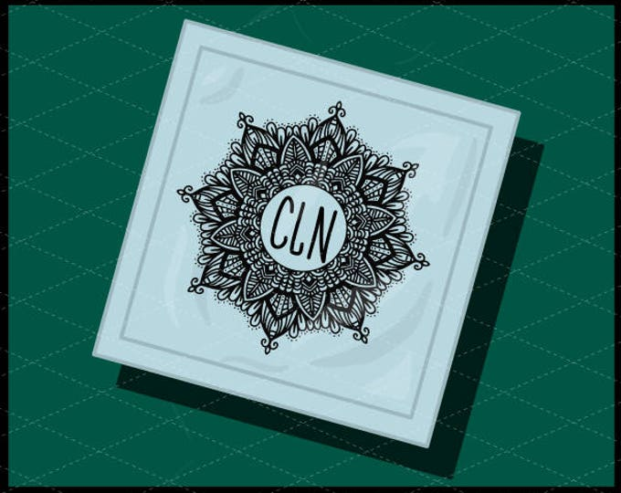 CLN0734A Monogram Mandala Hand Drawn Intricate Boho Sign SVG DXF Ai Eps PNG Vector Instant Download COmmercial Cut File Cricut Silhouette