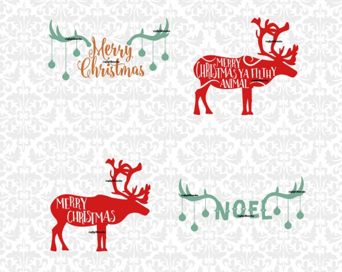 Reindeer Christmas Ornaments Words Noel Merry Christmas Ya Filthy Animal SVG STUDIO Ai EPS Instant Download Commercial Use Cricut Silhouette