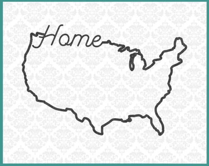 CLN0114 Home America USA United States 4th of July Day SVG DXF Ai Eps Png Vector Instant Download Commercial Cut File Cricut Silhouette