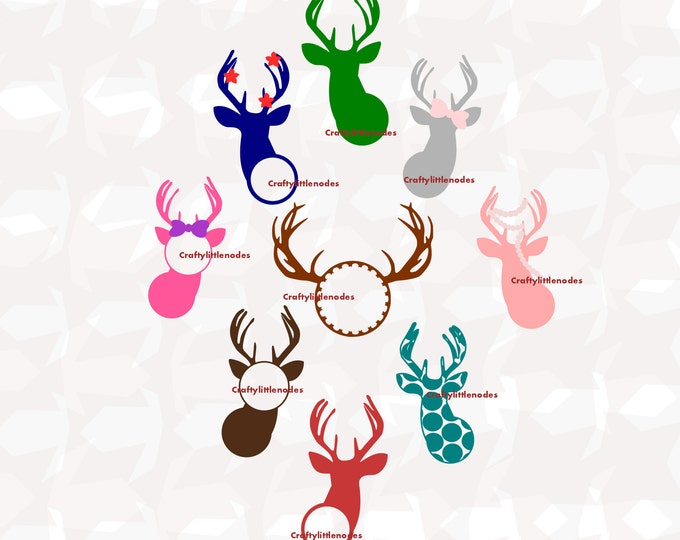 Deer Monograms Girly Antlers SVG file Ai EPS Scalable Vector Instant Download Commercial Use Cutting File Cricut Explore Silhouette cameo