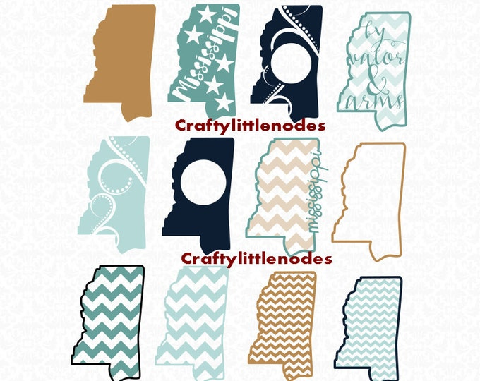 Mississippi Outline Chevron Monogram By Valor And Arms SVG file Ai EPS Scalable Vector Instant Download Commercial Use Cutting File Cricut