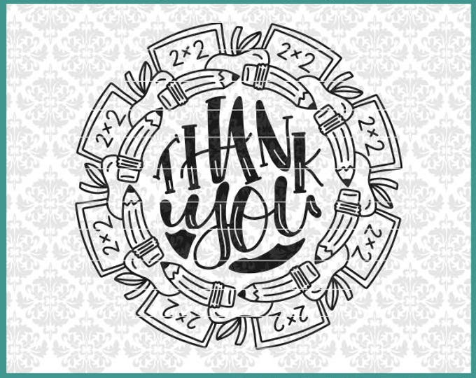 CLN0584 Teacher Student Mono Mandala Appreciation Thank you SVG DXF Ai Eps PNG Vector Instant Download Commercial Cut File Cricut Silhouette