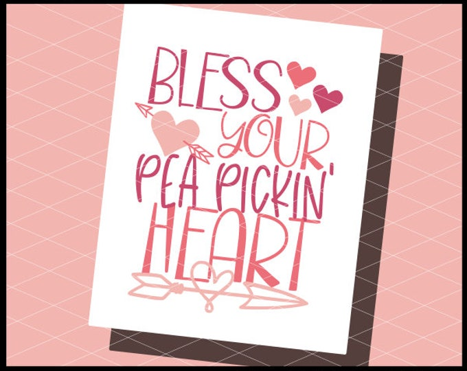 CLN0787 Bless Your Pea Pickin' Heart Valentines Day Kids  SVG DXF Ai Eps PNG Vector Instant Download Commercial Cut File Cricut Silhouette