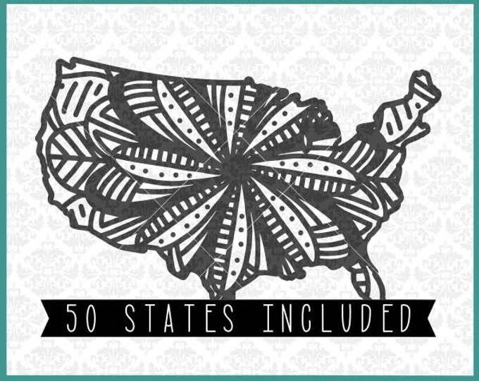 CLN0364 Mandala State Set Every All 50 States USA America SVG DXF Ai Eps Png Vector INstant Download Commercial Cut File Cricut Silhouette