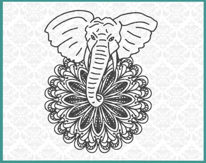 CLN0362 Elephant Mandala Boho Hand Drawn Zentangle Filigree SVG DXF Ai Eps PNG Vector Instant Download Commercial Cut File Cricut Silhouette