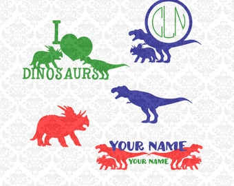 Dinosaur Tyrannosaurus Triceratops Love Monogram SVG DXF file ai eps png scalable vector instant download commercial use cutting file