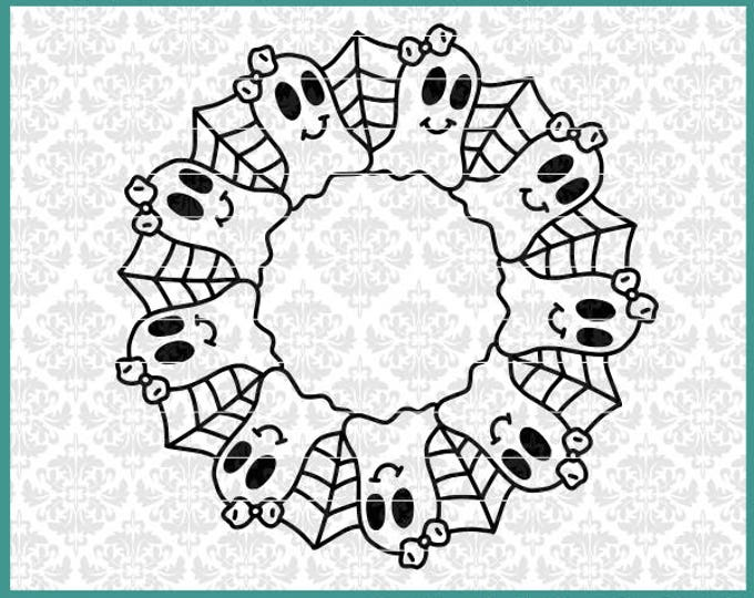 CLN0630 Ghost Halloween Mandala Monogram Spider Web Frame SVG DXF Ai Eps PNG Vector Instant Download Commercial Cut File Cricut Silhouette