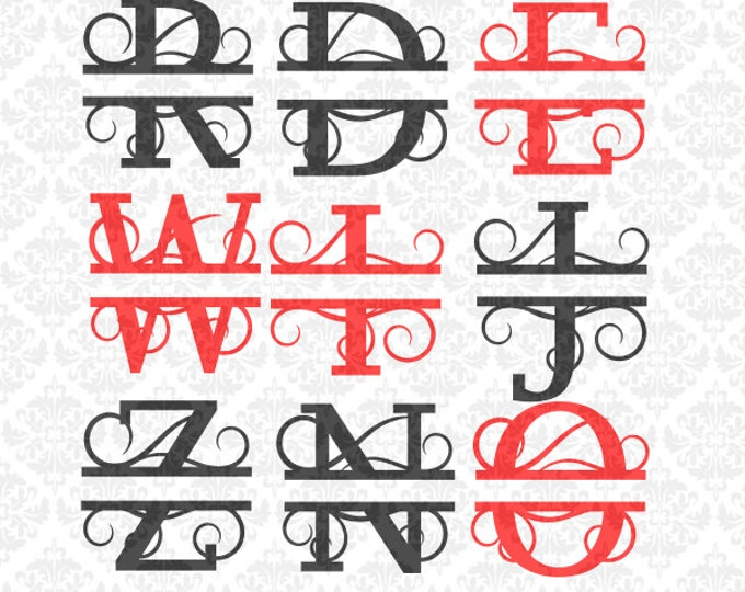 Split Monogram Swirly Letters Fancy Last Name Alphabet SVG  Ai EPS Scalable Vector Instant Download Commercial Use Cricut Silhouette