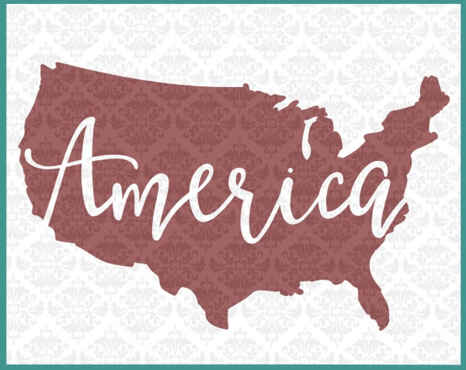 CLN0107 America American USA United States 4th of July Day SVG DXF Ai Eps Png Vector Instant Download Commercial Cut File Cricut Silhouette