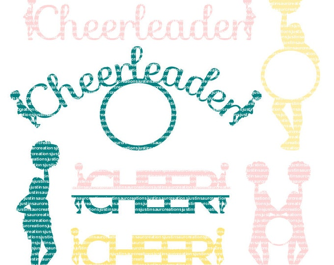 7 Piece Cheerleading SVG file Ai EPS Scalable Vector Cutting FIle Commercial Use  Instant Download Cricut Explore Silhouette cameo
