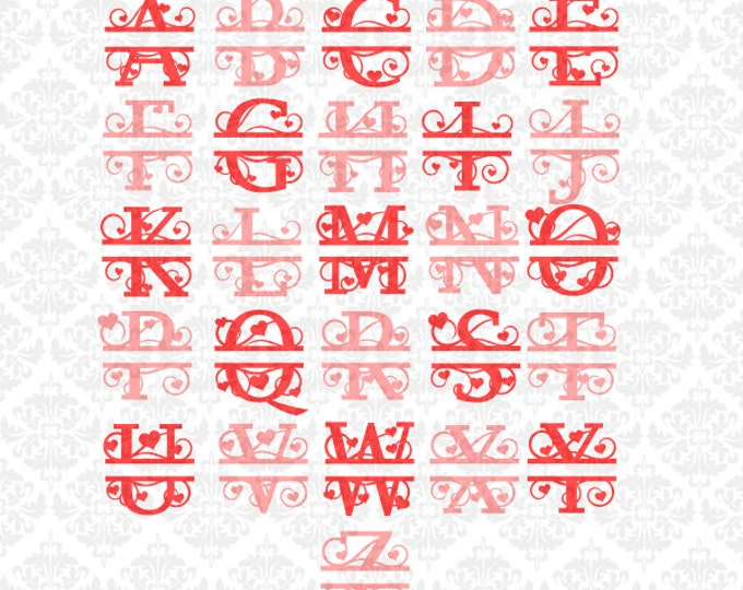 Split Heart Monogram svg, Split Monogram svg, Split Capitals Svg, Split Initials Svg, Monogram svg, Valentines Svg, Monogram Heart Svg, Cut