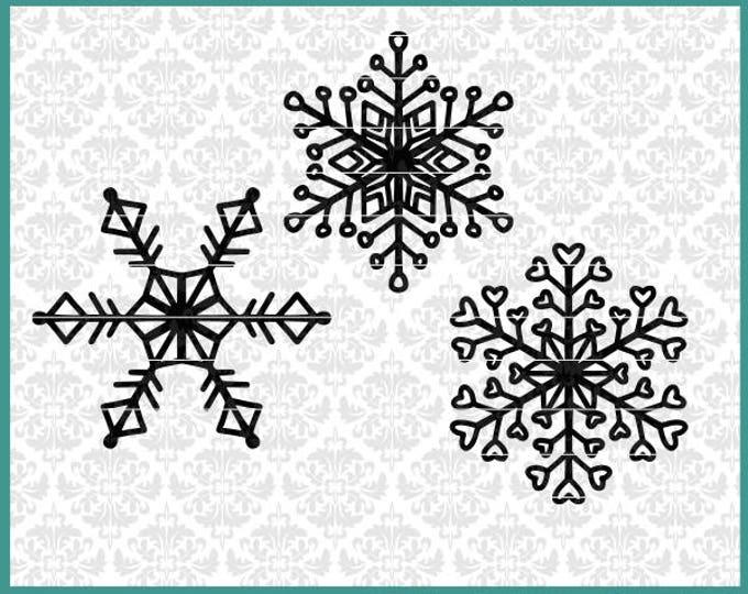 CLN0675 winter Christmas snowflakes 3 pack bundle hand drawn SVG DXF Ai EPs vector instant download commercial cut file cricut silhouette