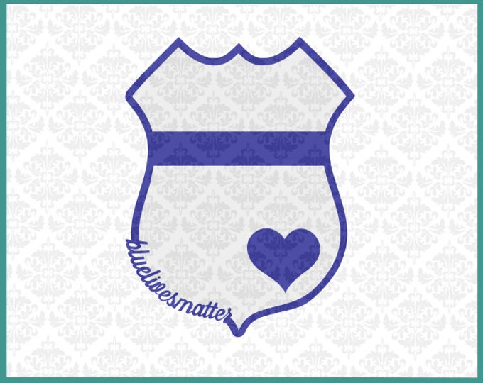 CLN028 Blue Lives Matter Police Badge Set SVG DXF png Ai EPS Scalable Vector Instant Download Commercial Use Cutting FIle Cricut Silhouette