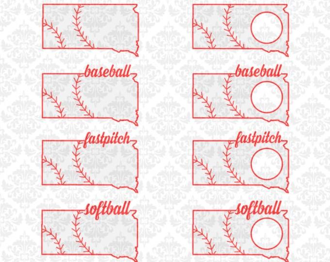 South Dakota Baseball Laces Softball Monogram Fastpitch Outline SVG STUDIO Ai EPS Vector Instant Download Cutting File Silhouette Cricut