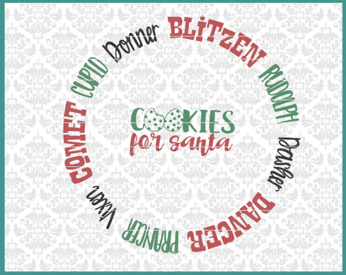 CLN0650 Cookies For Santa Reindeer Rudolph Plate Christmas SVG DXF Ai Eps PNG Vector Instant Download Commercial Cut File Cricut Silhouette