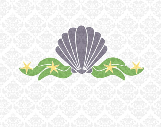 Shell Mermaid Seaweed Monogram Starfish Ocean Beach Summer SVG file Ai EPS Vector Instant Download Commercial Cutting Cricut Silhouette