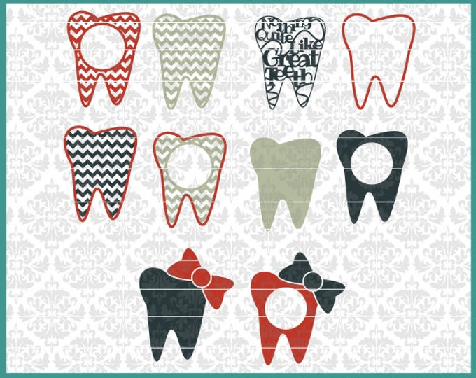 CLN0467 Teeth Dentist Hygienist Dental Tooth Monogram Bow SVG DXF Ai Eps PNG Vector Instant Download Commercial Cut FIle Cricut SIlhouette