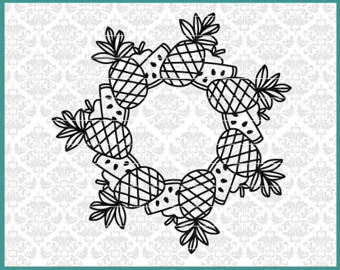 CLN0631 Pineapple Apple Watermelon Mandala Monogram SVG DXF Ai Eps PNG Vector INstant Download Commercial Cut File Cricut Silhouette