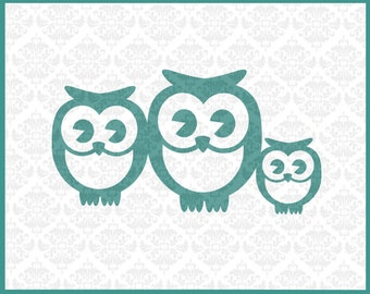 CLN0130 Owl Family Mommy Daddy Baby Couple Mother Father Owls SVG DXF Ai Eps PNG Vector Instant Download Commercial Use Cricut Silhouette
