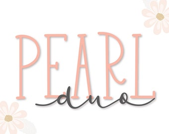 Pearl Duo - Hand Lettered Script & Print Duo - Font Pairs - Font Duos - Serif - Tall Font - Long Font - Handwriting Font - Handwritten Font