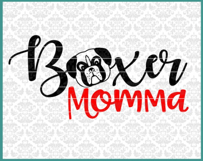 CLN0455 Boxer Momma Hand Drawn Boxer Head Dog Mom Daddy Dad SVG DXF Ai Eps PNG Vector instant Download commercial Cut File Cricut Silhouette