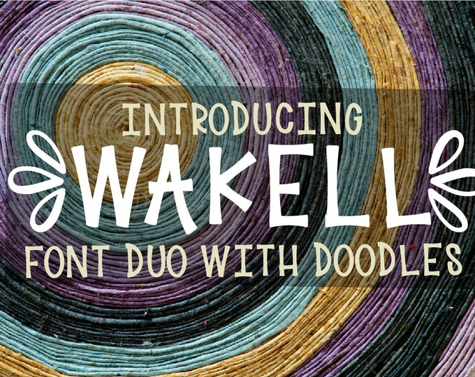Wakell, Font Duo, Doodles, Ornaments, OTF, TTF, Fonts, Symbols, Commercial, Flowers, Nurse, Drawings, Extras, Bundle, Set, Typeface, letters