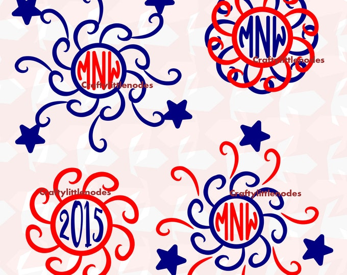 Firework Monogram Fourth Of July Art SVG file Ai EPS Scalable Vector Commercial Use Instant Download Cutting File Cricut Silhouette