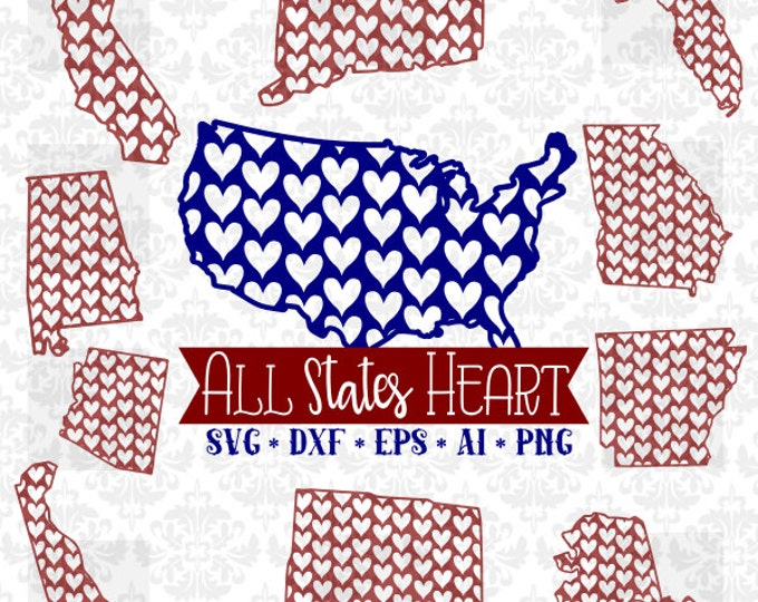 All States Every State Heart Set Pattern Whole Bundle SVG DXF Ai Eps PNG Vector Instant Download Commercial Cut File Cricut Silhouette