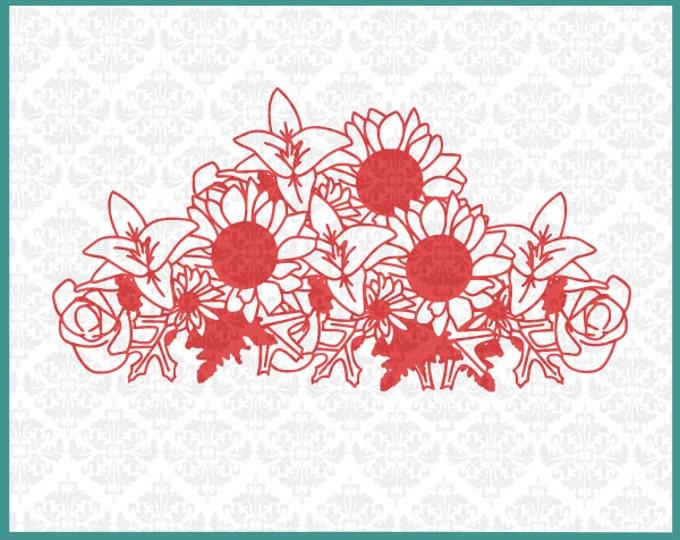 CLN041 Thanksgiving Floral Sunflower Leaves Bunch bouquet SVG DXF Ai Eps PNG Vector INstant Download Commercial Cut File Cricut SIlhouette