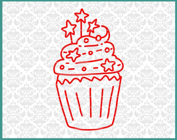 CLN0562 Patriotic Cupcake 4th Fourth of July Independence SVG DXF Ai Eps PNG Vector Instant Download Commercial Cut File Cricut Silhouette