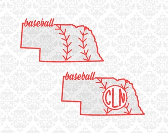 Nebraska Baseball Softball Fastpitch Monogram  SVG DXF file Ai EpS Vector Instant Download Commercial Use Cutting File Cricut Silhouette