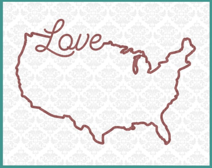 CLN0104 Love Outline USA America Independence American SVG DXF Ai Eps Png Vector Instant Download Commercial Cut File Cricut Silhouette