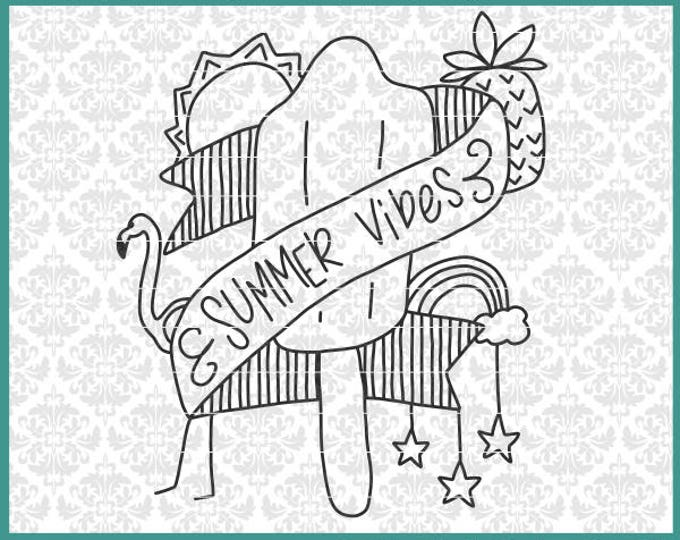CLN0596 Summer Vibes Beach Flamingo Sun Pineapple Drawing SVG DXF Ai Eps PNG Vector Instant Download Commercial Cut File Cricut Silhouette