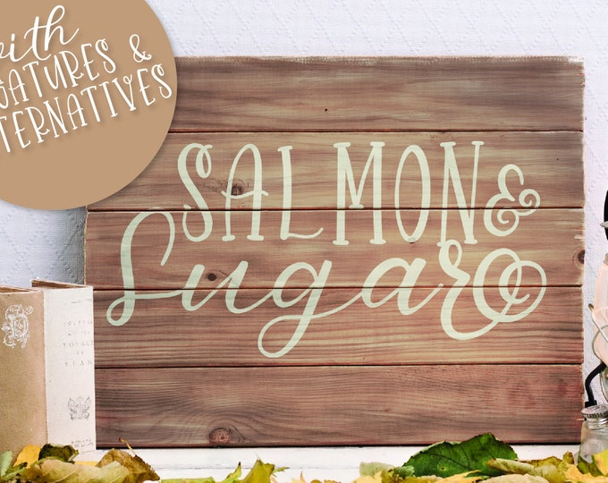 Salmon & Sugar - Font Duo Script Cursive and Serif Print - Hand Lettered Handwritten Handwriting - Craft Font- Cricut Font - Silhouette Font