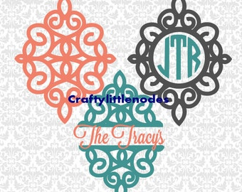 Fancy Monogram Split Frames SVG STUDIO Ai EPS Scalable Vector Instant Download Commercial Use Cutting File Cricut Silhouette