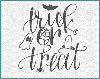 CLN0661 Trick Or Treat Halloween Hand Lettered Spooky Funny SVG DXF Ai Eps PNG Vector Instant Download Commercial Cut File Cricut Silhouette