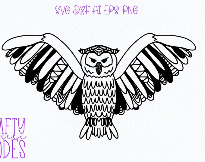 Owl Intricate SVG Design, Tangle Drawing Cuttable Design, Animal, Owl Drawn, Art, Bird Lover, Tshirt Design, Sublimation, Feathers, Flying