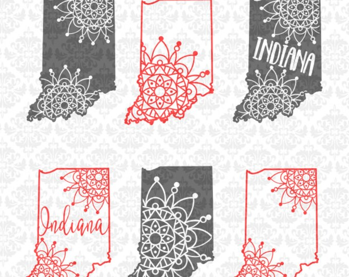 Indiana Mandala Henna Filigree Zentangle State SVG DXF Ai Eps PNG Scalable Vector Instant Download Commercial Cut Files Cricut Silhouette