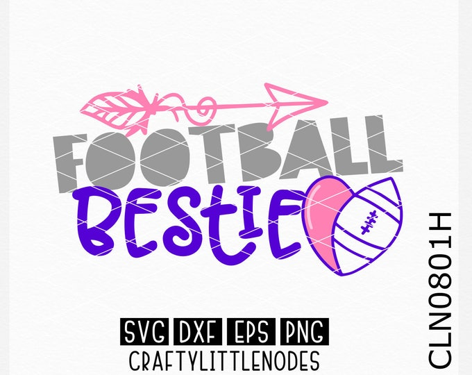 CLN0801H Football Bestie Friend Sports Team Heart Ball SVG DXF Ai EPs PNG Vector Instant Download Commercial Cut File Cricut Silhouette