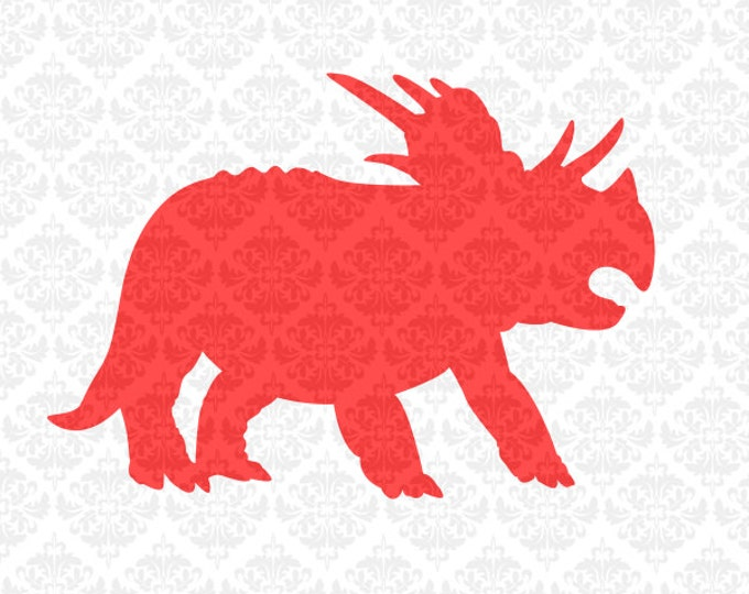 Triceratops Dinosaur Tyrannosaurus Monogram Dino SVG DXF file ai eps png scalable vector instant download commercial use cutting file