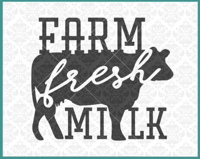 CLN307 Farm Fresh Milk Farmhouse Cow Chicken Pig Farmer SVG DXF Ai Eps PNG Vector Instant Download Commercial Cut File Cricut Silhouette