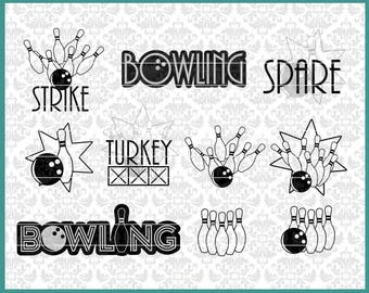 Bowling svg, Bowling bundle svg, Bowling shirt svg, Turkey Svg, Strike svg, Spare svg, Bowling Pin svg, Pins, Bowler Svg, Cricut, Silhouette
