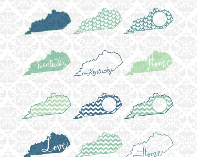 Kentucky Outline Chevron Home Monogram Love Hearts SVG STUDIO Ai EPS Scalable Vector Instant Download Commercial Use Cricut Silhouette